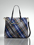 Plaid Shoulder Tote