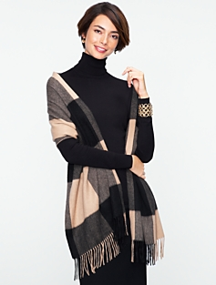 Talbots Cashmere Buffalo Plaid Waterweave Wrap