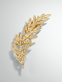 Crystal Pav� Feather Brooch