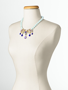 Gem & Bead Drop Necklace