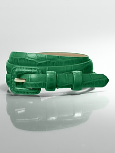 Croc-Embossed Leather Covered-Buckle Belt