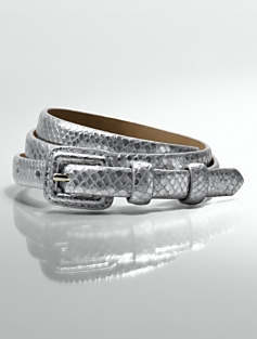 Exotic-Embossed Metallic Leather-Covered Buckle Belt