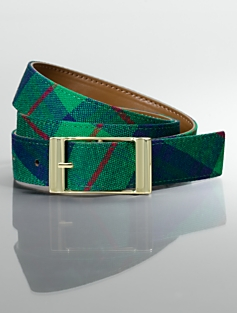 Reversible Plaid & Leather Belt