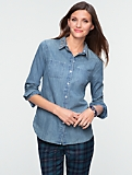 Jewel-Collar Denim Cotton Shirt