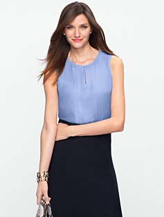 Satin-Backed Crepe Top