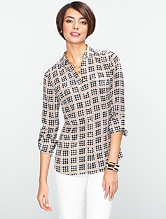 Silk Houndstooth Utility Shirt