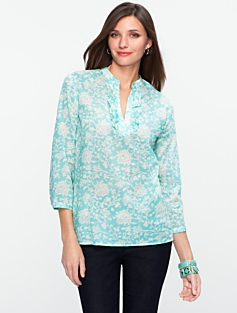 Ruffled Vine Cotton Shirt