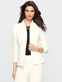 Seasonless Crepe Shawl-Collar Jacket