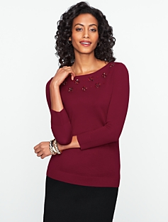 Talbots Merino Beaded Bateau-Neck Sweater