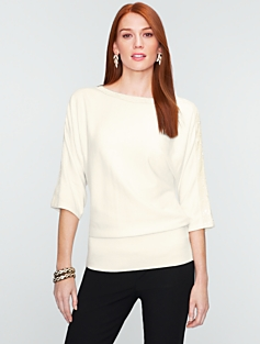 Talbots Cotton Sequin-Trimmed Dolman Sweater