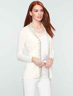 Talbots Cozy Gem-Trimmed Cardigan