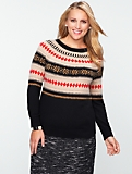 Talbots Cozy Fair Isle Colorblocked Sweater