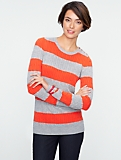 Talbots Cozy Stripe Cable Shoulder-Button Sweater
