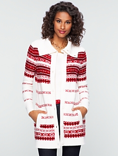 Cozy Stripe Fair Isle Sweater Coat