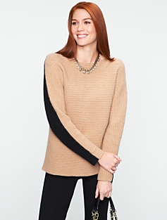 Talbots Cashmere Colorblocked Ribbed Dolman Sweater