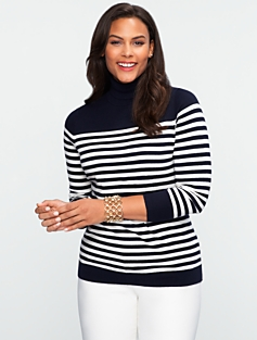 Block-Stripe Turtleneck