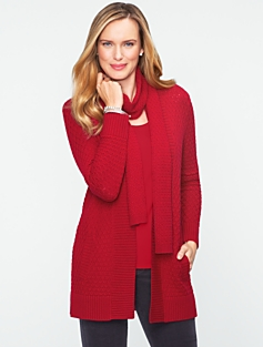 Talbots Cozy Diamond-Cable Cardigan