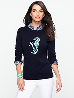 Talbots Comfy Sea Horse Sweater