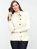 Cable Mock-Neck Cardigan