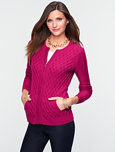 Honeycomb-Stitch Zip-Front Cardigan