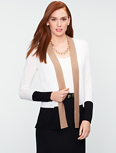 Merino Wool Colorblocked Flyaway Cardigan