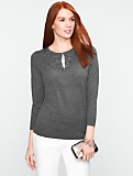 Talbots Merino Beaded Keyhole Sweater