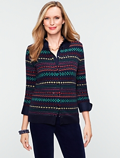 Talbots Cozy Charming Fair Isle Cardigan