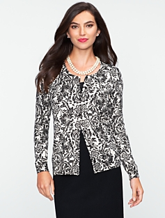 Charming Sparkle Floral-Scroll Cardigan