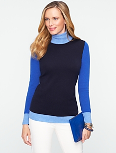 Talbots Cashmere Colorblocked Turtleneck Sweater