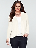 Talbots Comfy Cotton Link-Stitch Draped-Flyaway Cardigan