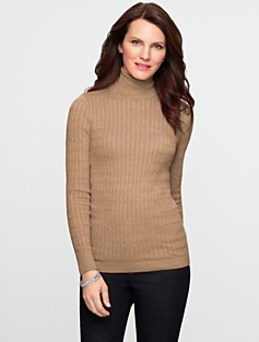 Talbots Comfy Cotton Cable Turtleneck