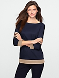 Three-quarter Sleeve Luxe Colorblock Boatneck