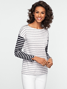 Nantucket Slub Zip-Shoulder Tee
