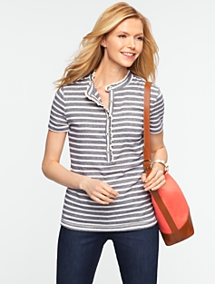 Striped Cotton Ruffled Henley Polo