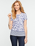 Sketched Floral Stripe Cotton Tee