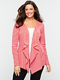 Striped Flyaway Cotton Cardigan
