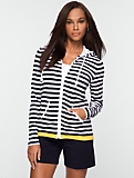Stretch Weekend Terry Striped Zip-Front Hoodie