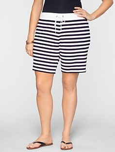 "Stretch Weekend Terry Striped 5"" Drawstring Shorts"