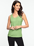 Sleeveless Ruched Scoop Tee