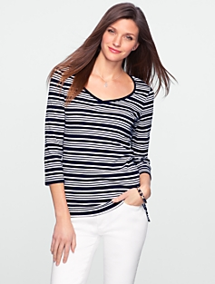 Mala Stripe Stretch Weekend Sweetheart Tee