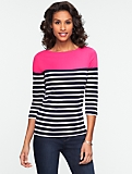 Pima Cotton Block Stripe Bateau Neck Tee
