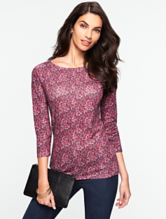 Pima Cotton Floral Bateau-Neck Tee