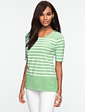 Stripe Zip-Shoulder Cotton Tee