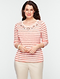 Beaded Stripe Cotton Tee