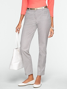 Curvy Corded Stripe Ankle Pants