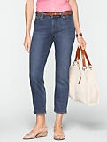 Slimming Signature Medium Ocean Wash Crop Jeans