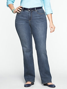 Slimming Curvy Medium Ocean Wash Bootcut Jeans