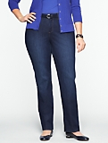 Slimming Curvy Dark Ocean Wash Straight-Leg Jeans