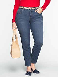 Slimming Curvy Medium Ocean Wash Ankle Jeans