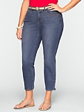 Slimming Curvy Medium Ocean Wash Crop Jeans